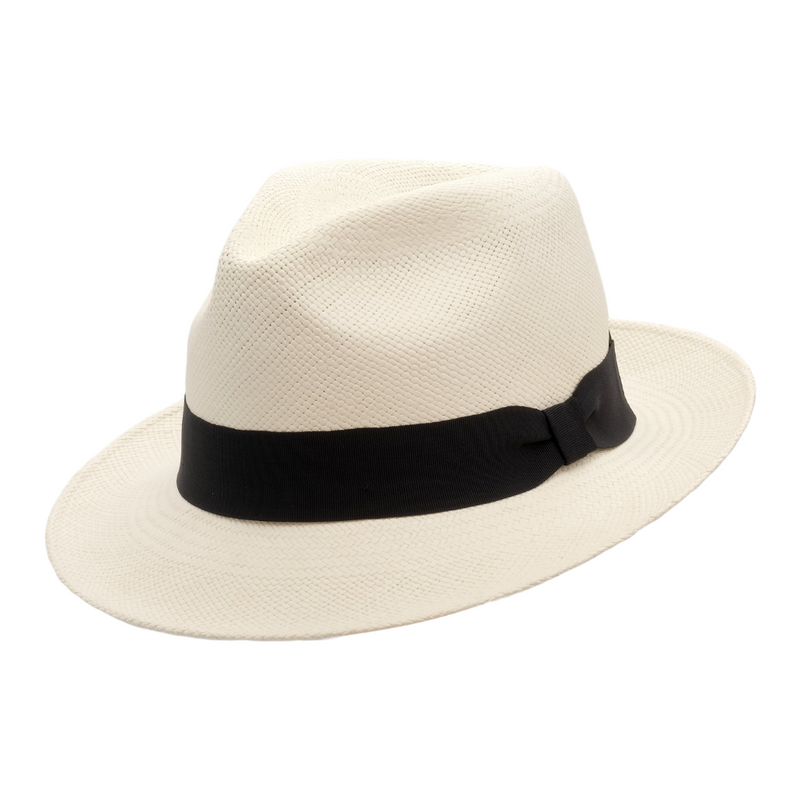 Strand Hatters, angle view of Avenel Teddy King Brisa Panama #3 - Bleach