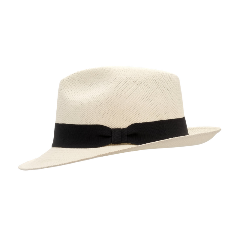 Strand Hatters, side view of Avenel Teddy King Brisa Panama #3 - Bleach