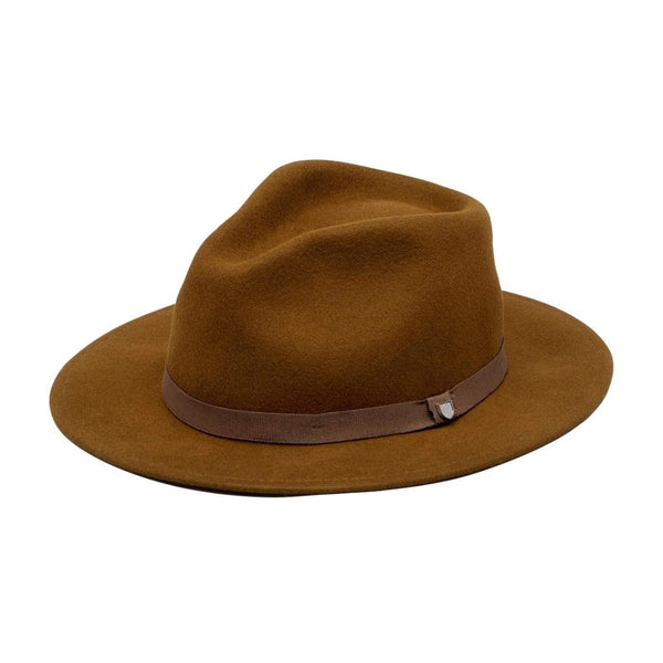 Angle view of Brixton Messer packable Fedora in coffee colour
