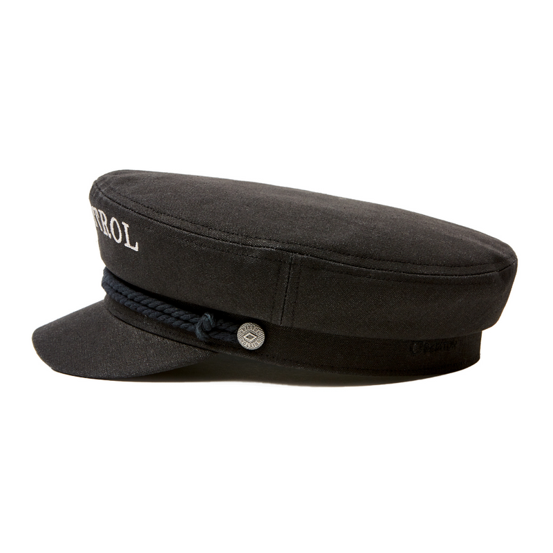 Side view of Brixton Strummer Out of Control Black Fiddler cap