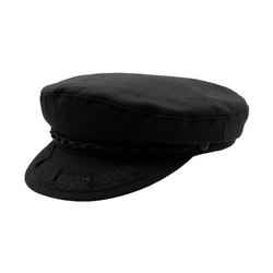 Strand Hatters, angle view of Avenel Greek Fishermans cotton Cap - black