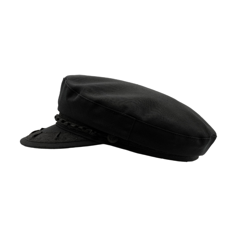 Strand Hatters, side view of Avenel Greek Fishermans cotton Cap - black