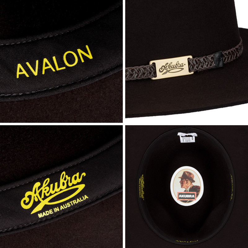 Compilation of images of Akubra Avalon hat in Bitter Chocolate colour showing interior detail and hat band close-up