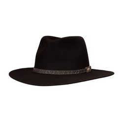 Angle view of Akubra Avalon hat in Bitter Chocolate colour