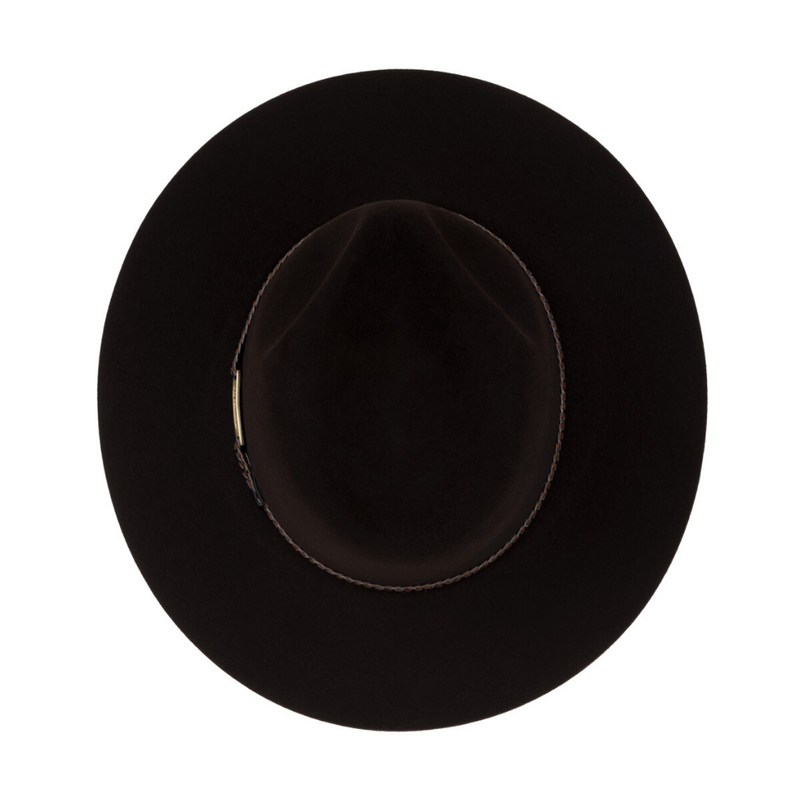 View of Akubra Avalon hat in Bitter Chocolate colour from the top down