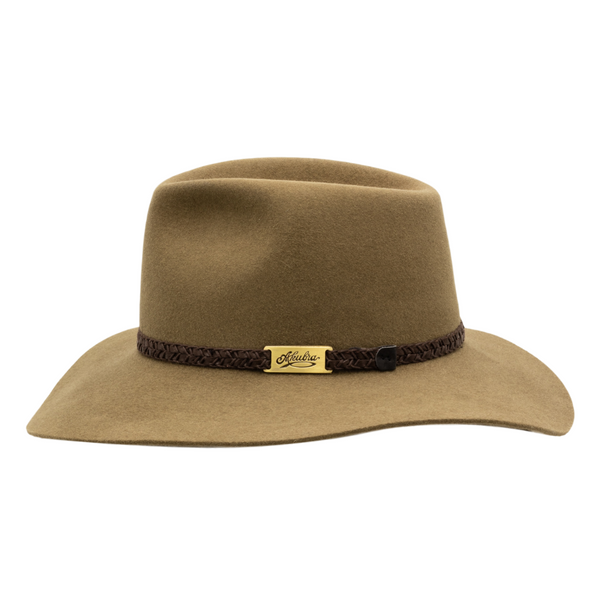 Side view of Akubra Avalon hat in Eucalypt colour