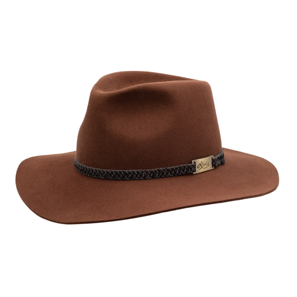 Angle view of Akubra Avalon hat in Jarrah colour