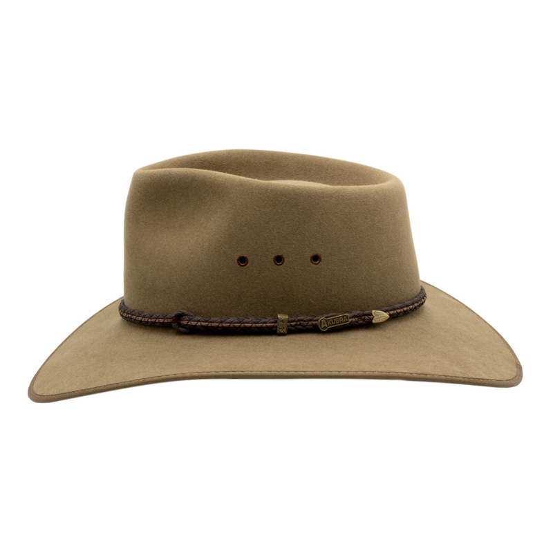 Side view of Akubra Cattleman Country style hat in Santone colour