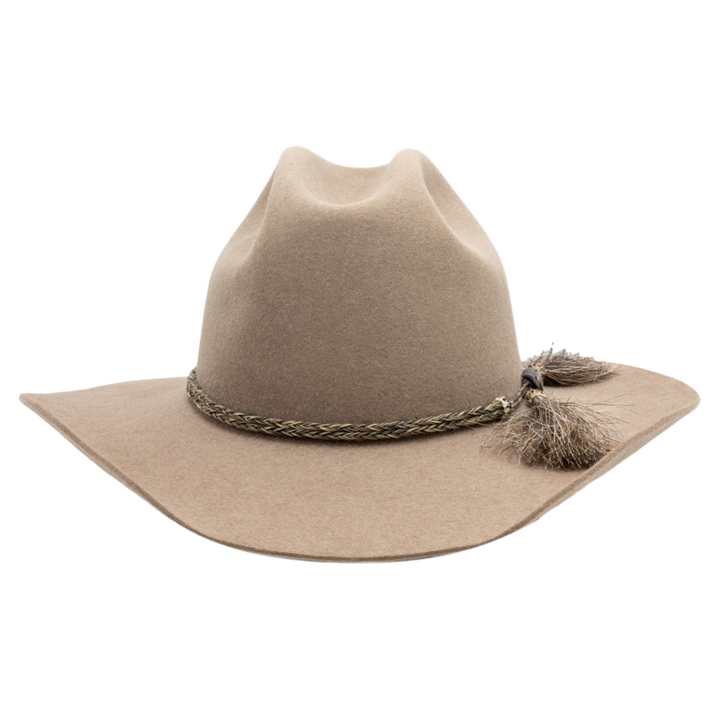 Front view of Akubra Rough Rider Western style hat in Bran colour