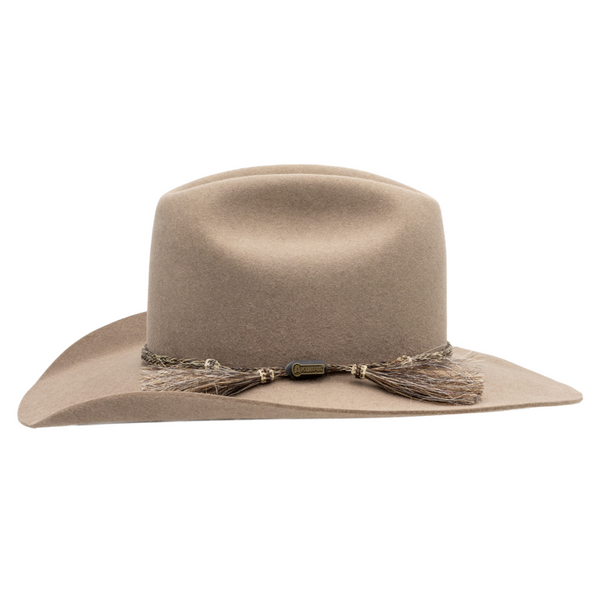 Side view of Akubra Rough Rider Western style hat in Bran colour
