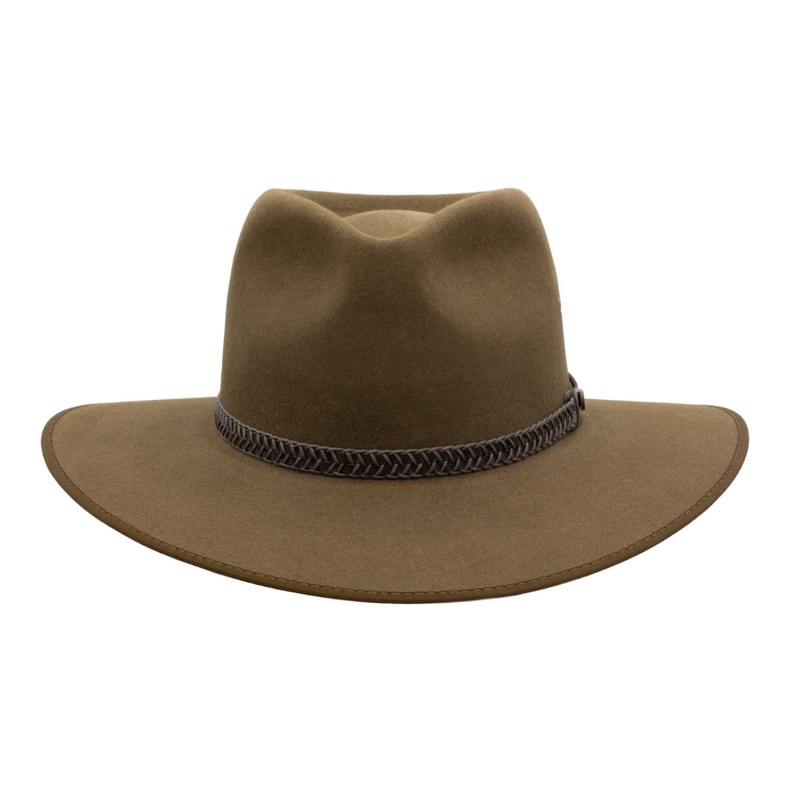 Front view of Akubra Tablelands Country style hat in Khaki colour