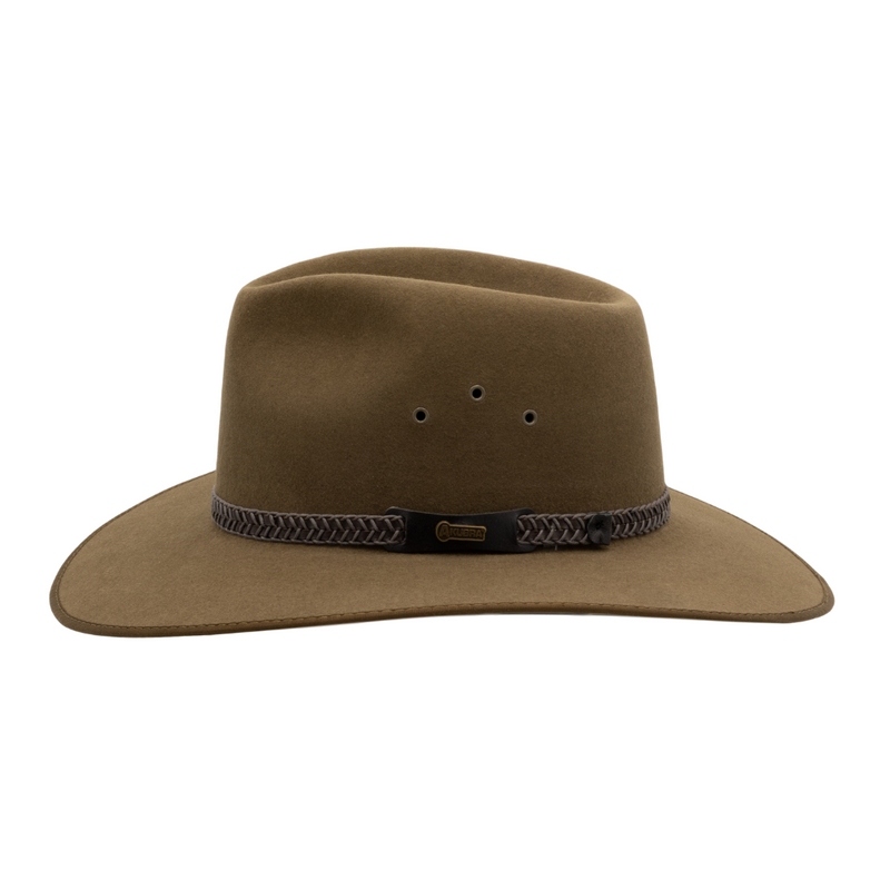Side view of Akubra Tablelands Country style hat in Khaki colour