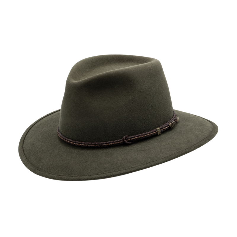 Angle view of Akubra Avalon in Fern colour