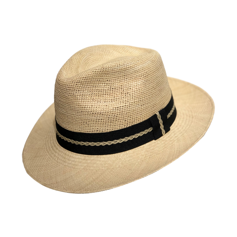 Strand Hatter, angle view of Avenel Crochet Crown Brisa Fedora - Natural