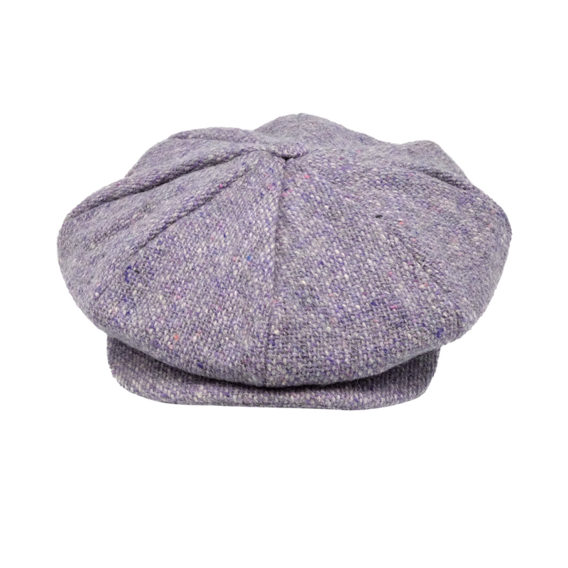 Strand Hatters, front view of Hanna Tweed 8 Piece Cap - Lilac