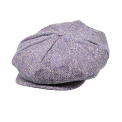 Strand Hatters, angle view of Hanna Tweed 8 Piece Cap - Lilac