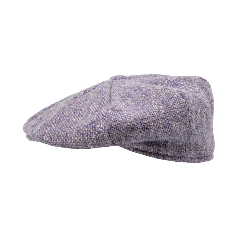 Strand Hatters, side view of Hanna Tweed 8 Piece Cap - Lilac