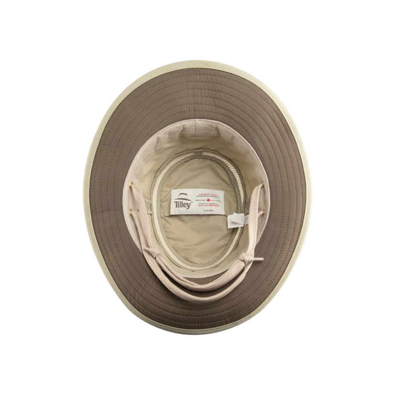 Underside view of Tilley LTM 5 hat in Khaki / Olive showing olive colour under brim