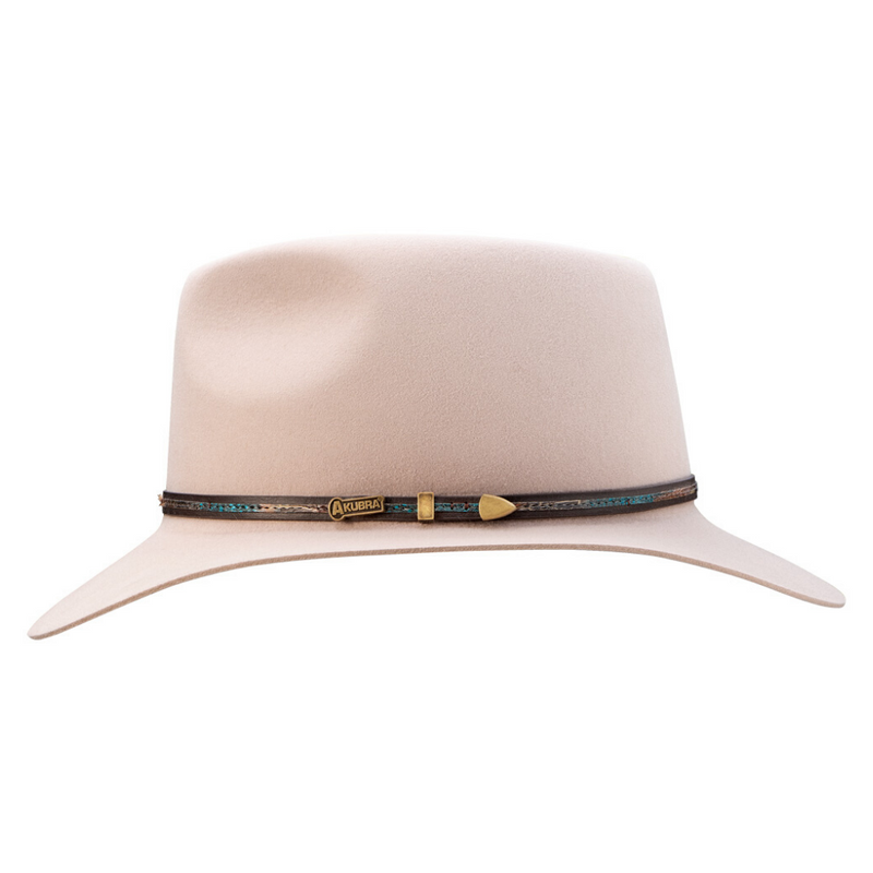 Side view of Akubra Leisure Time hat in Light Sand colour