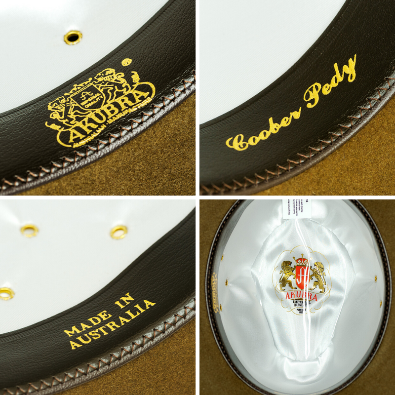 Interior images of the Akubra Coober Pedy hat in Khaki colour