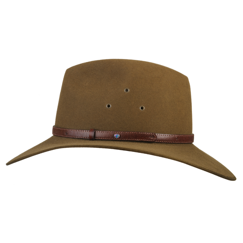 Side view of the Akubra Coober Pedy hat in Khaki colour