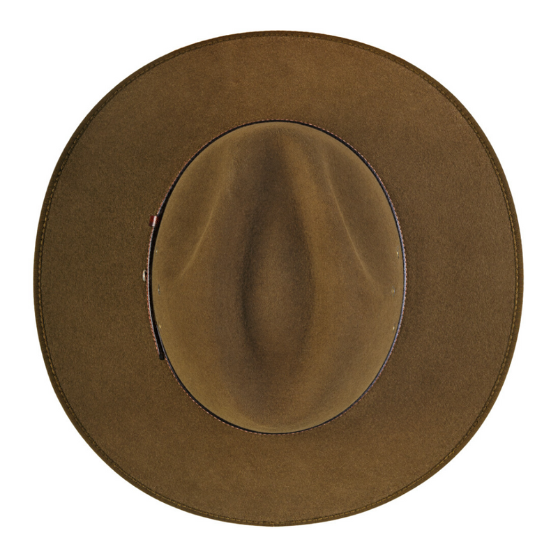 top of crown view of the Akubra Coober Pedy hat in Khaki colour