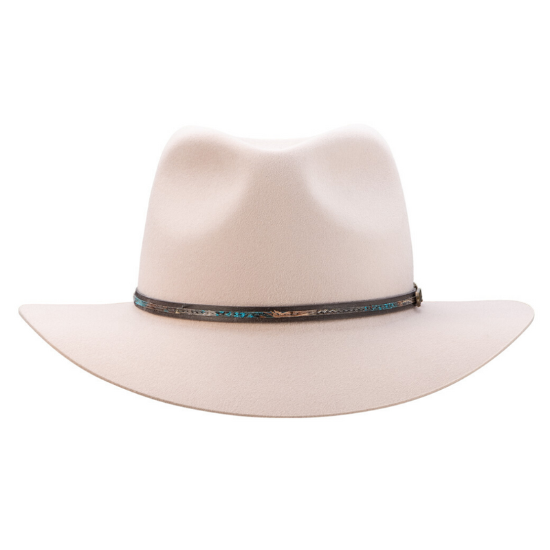 Front view of Akubra Leisure Time hat in Light Sand colour