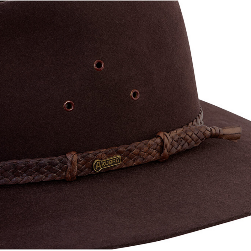 Close-up of Akubra Riverina hat band - Loden colour