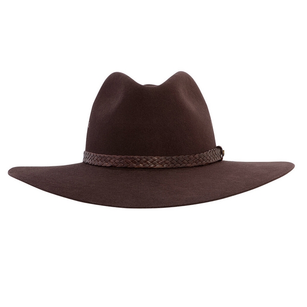 Front view of Akubra Riverina hat in Loden colour