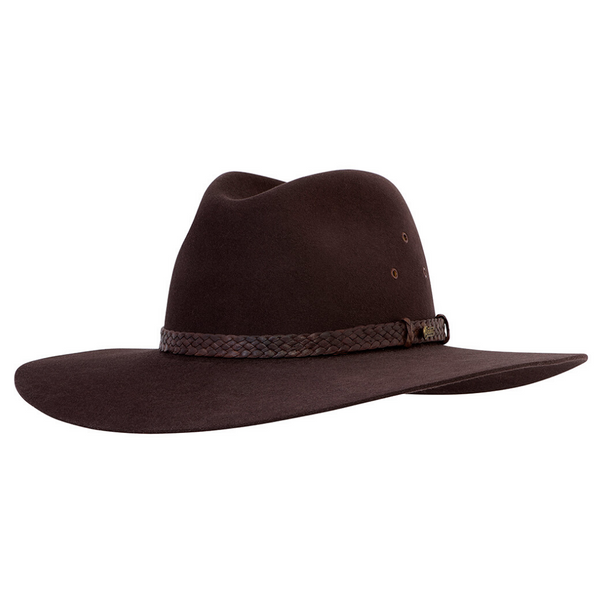 Angle view of Akubra Riverina hat in Loden colour
