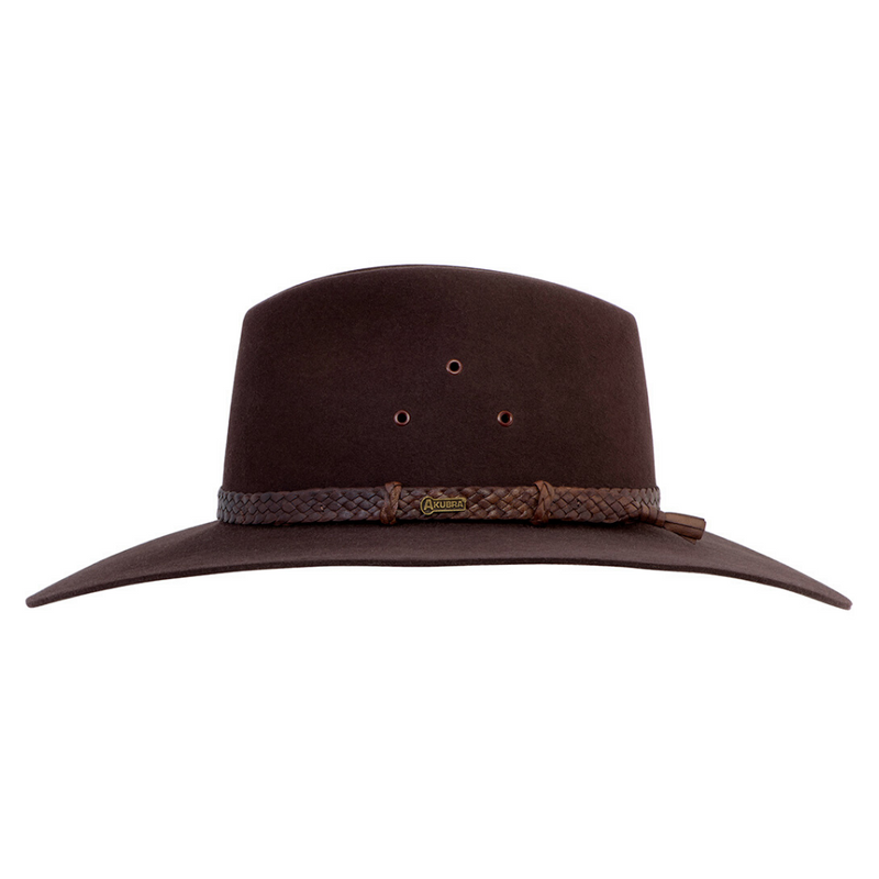 Side view of Akubra Riverina hat in Loden colour