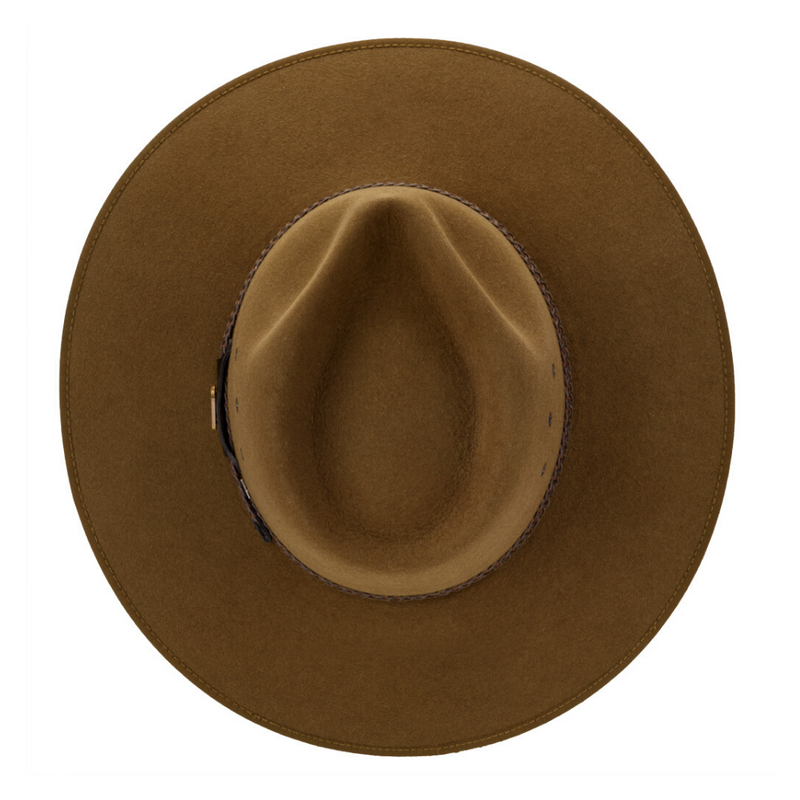 Looking down on Akubra Tablelands hat in brown olive showing crown detail