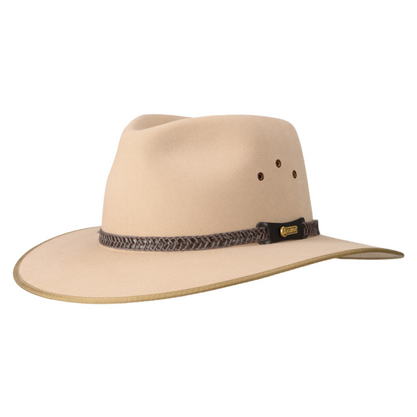 Angle view of Akubra Tablelands hat in sand colour