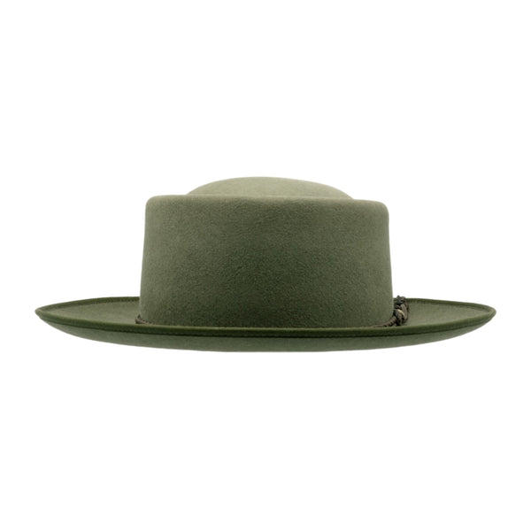 Front view of Akubra Pastoralist hat in Bluegrass Green