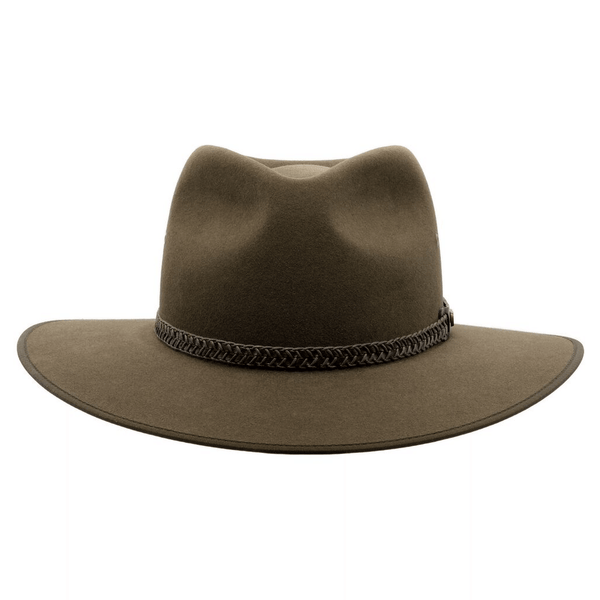 Front on view of Akubra Tablelands hat  in Brown Olive colour