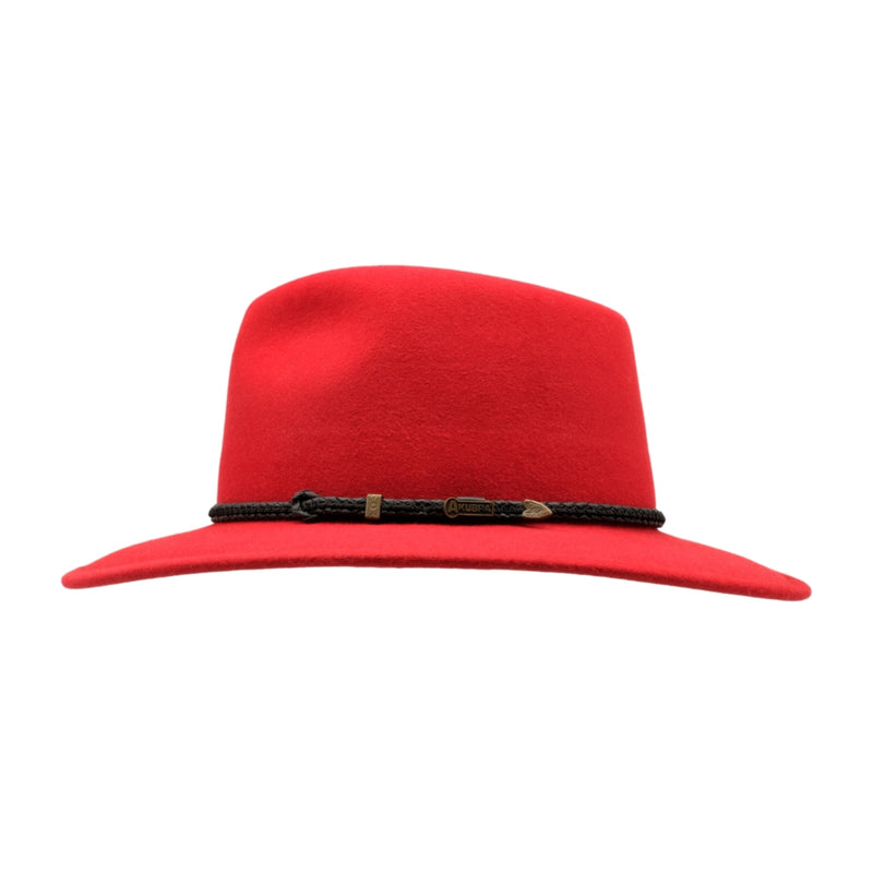 side view of Akubra Traveller hat in Rodeo Red