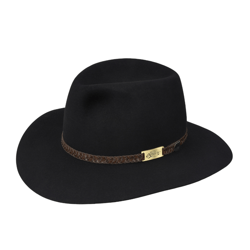angle view of black Akubra Avalon style hat