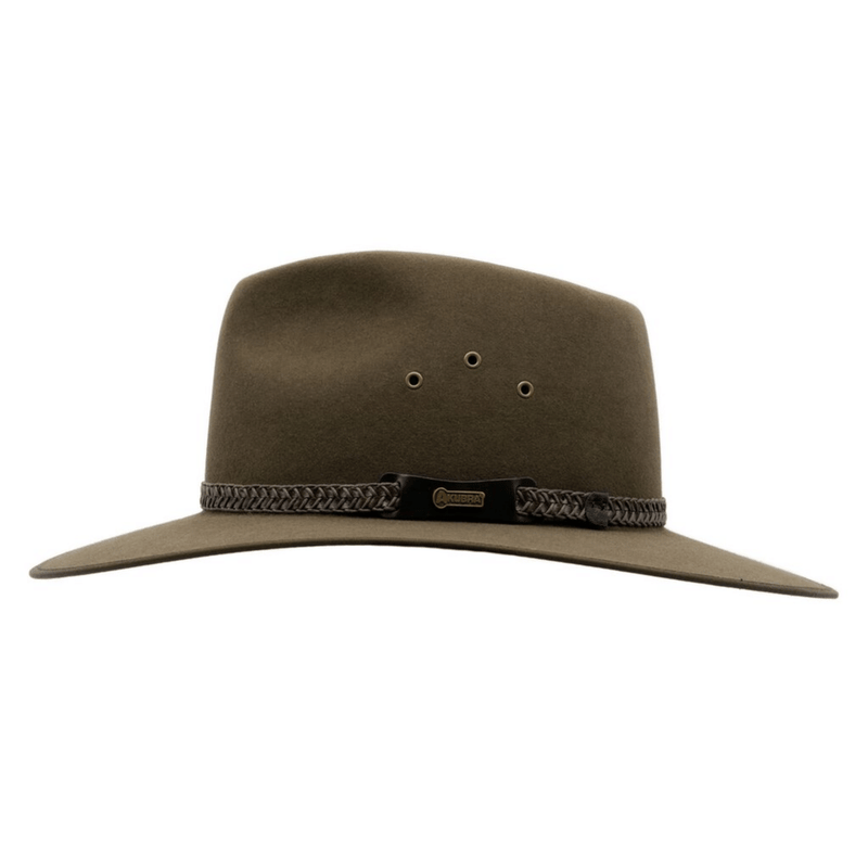 Side view image of Akubra Tablelands hat in brown olive colour showing hat band detail
