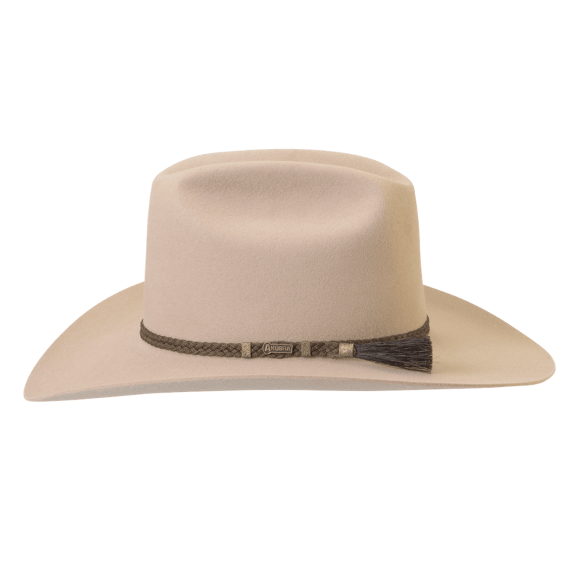 side view of Akubra the Arena hat in sand colour showing hatband detail