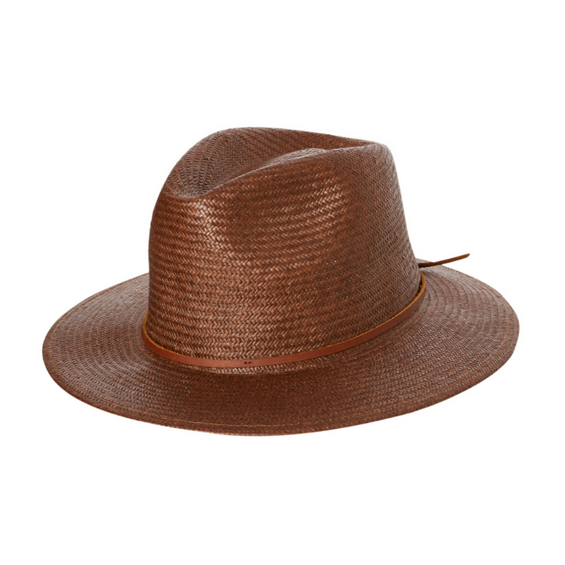 Brixton Wesley Straw Fedora in brown colour