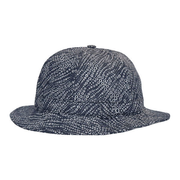 Side view of hills hats Carbonator Pith helmet in Navy pattern