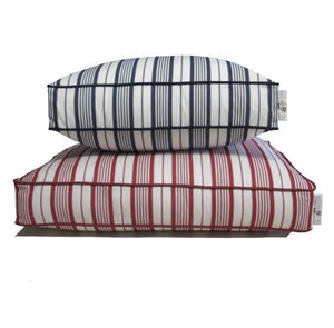 Cotton blue & white striped dog bed stacked on top Red and white striped dog bed