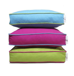 Eco friendly dog beds blue pink green contrast piping