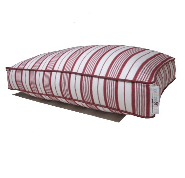 Red and white striped dog bed