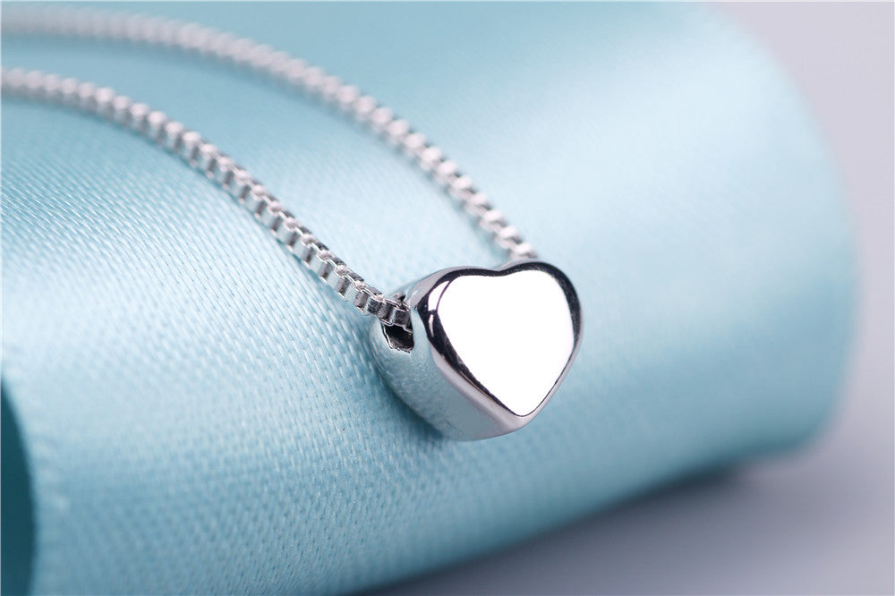 Shiny Heart Necklace 100% 925 Sterling Silver