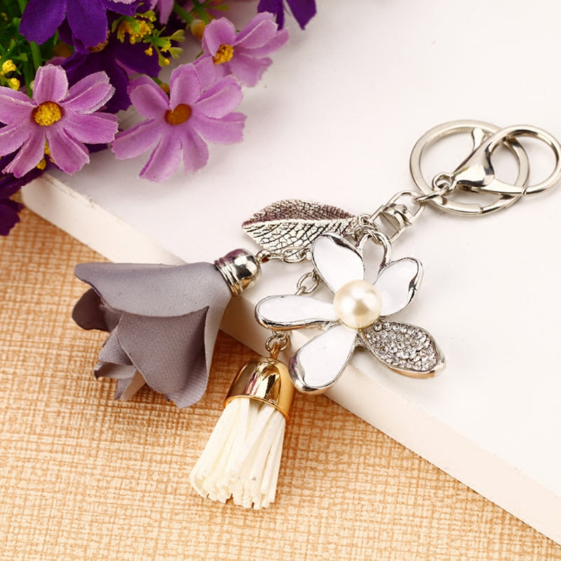 Flower Charm And Chiffon Tassel Bag Keychain