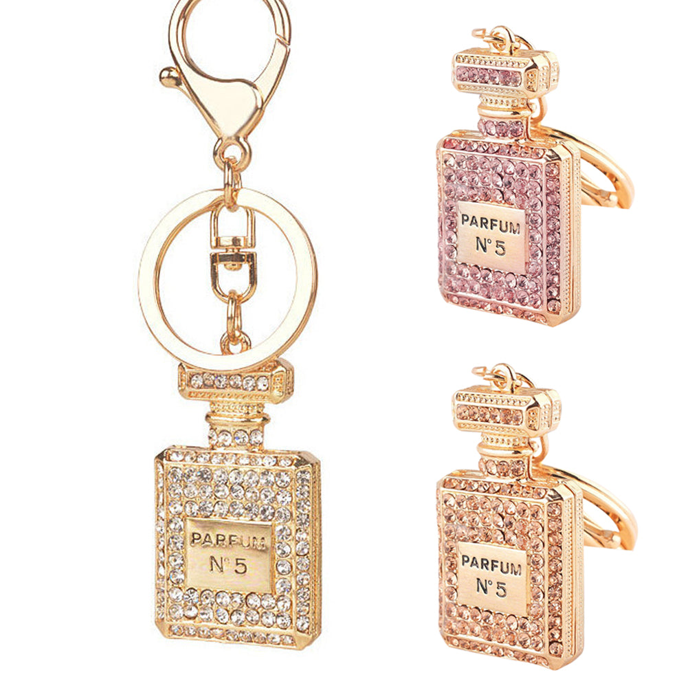 Crystal Perfume Bottle Bag Keychain