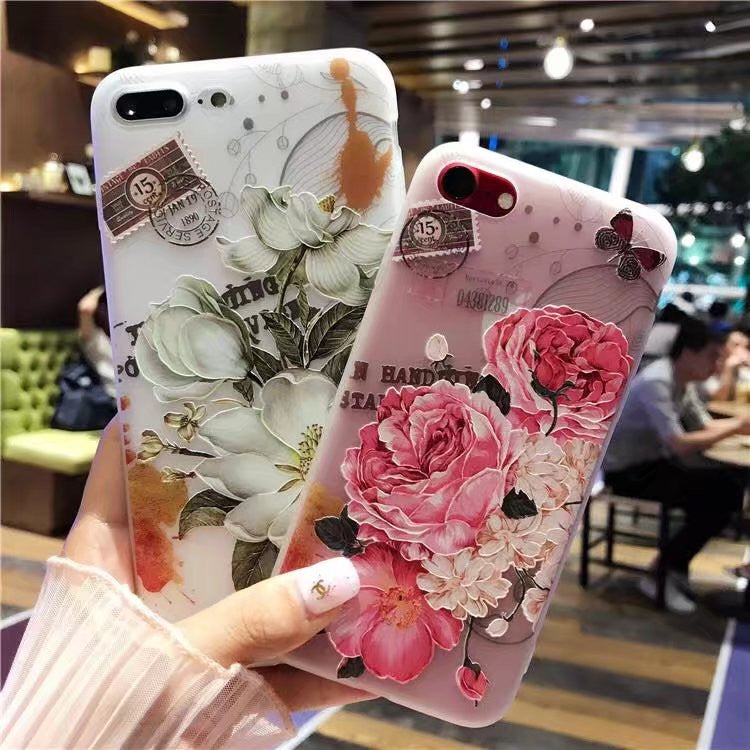 Vintagely Romantic Flower Soft Silicone Back Cover iPhone Case