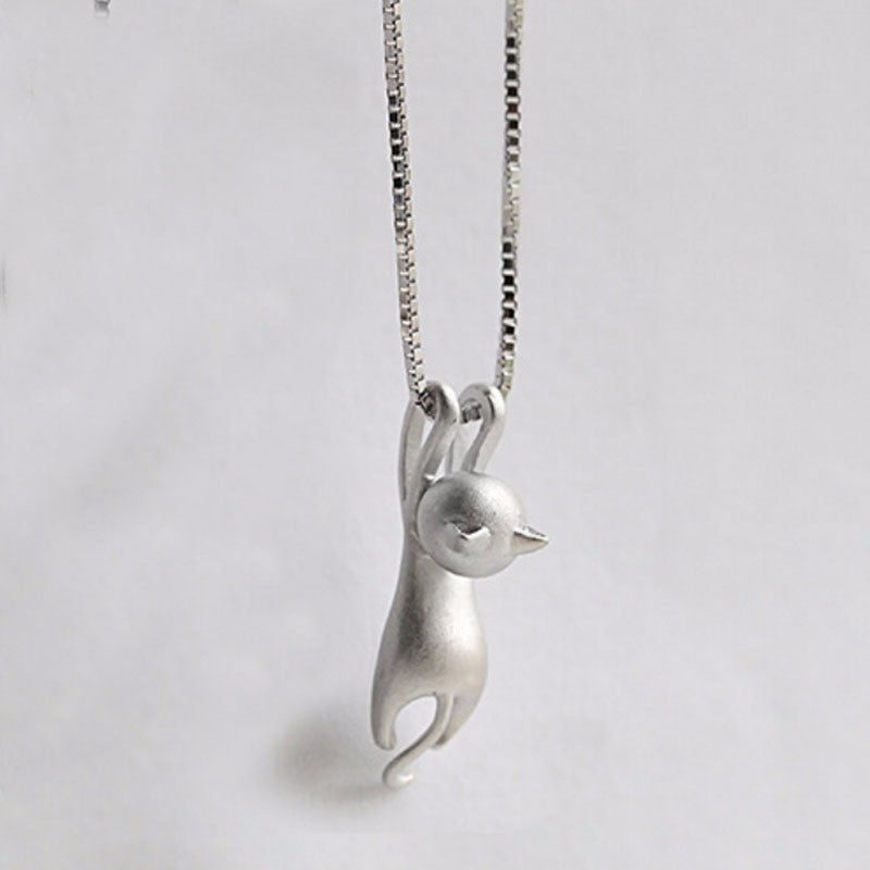 3D Hanging Cat Pendant Necklace