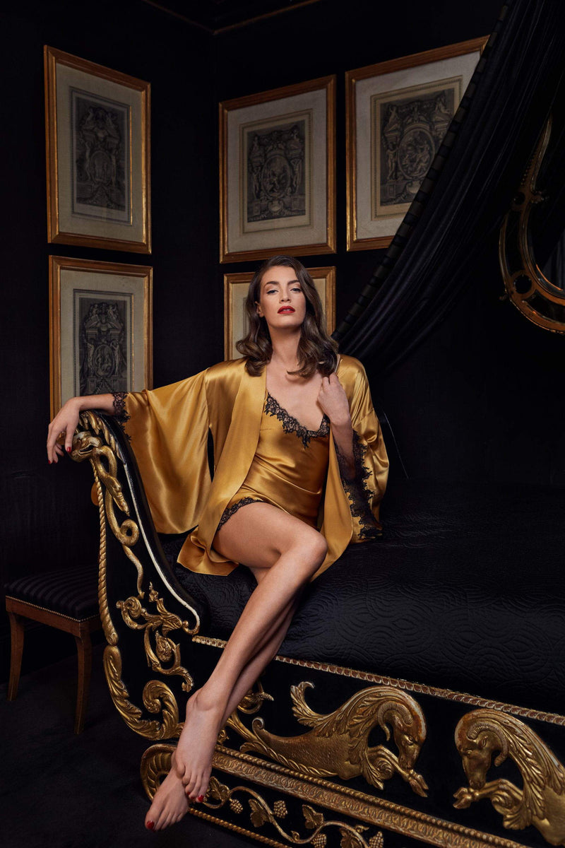 Gilda & Pearl Robe Midnight Cognac Mini Slip